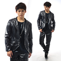 2015 Spring and Autumn new Korean men tight leather motorcycle jacket men zipper jacket metal rock stage costumes