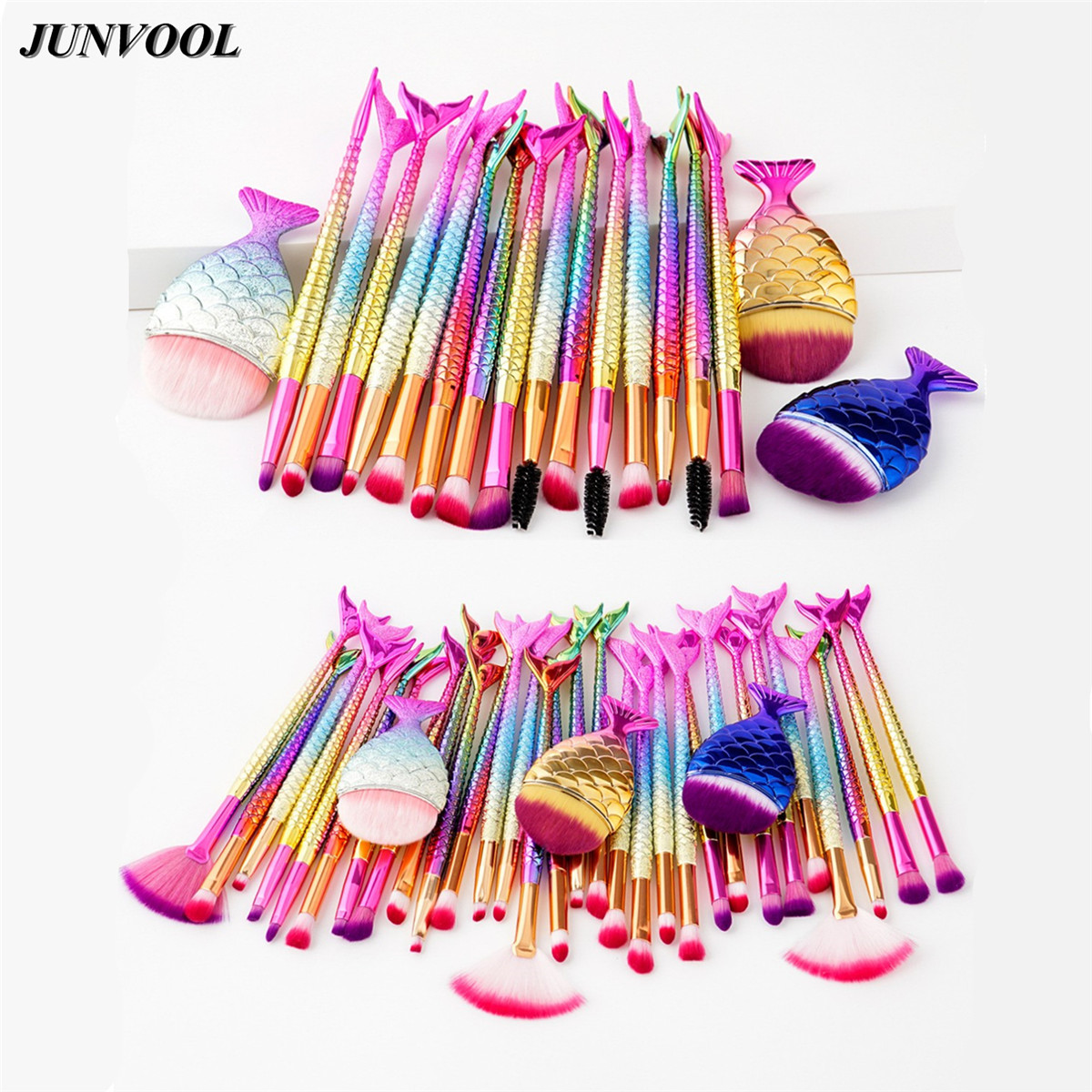 Eyes Mermaid Makeup Brushes Set Big Fish Tail Foundation Blending Brush Powder Eyeshadow Contour Concealer Cosmetic Make Up Tool focallure 10pcs makeup brushes set foundation blending powder eyeshadow contour blush brush beauty cosmetic make up tool kit