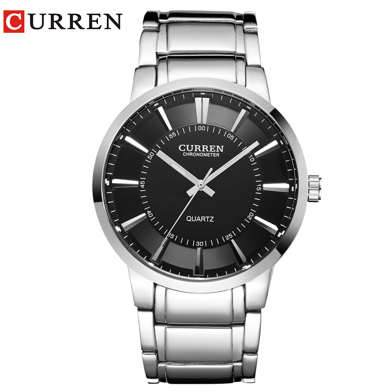 curren famous watches quart watch design sport steel clock top quality military men male luxury Metal watchband 8001B
