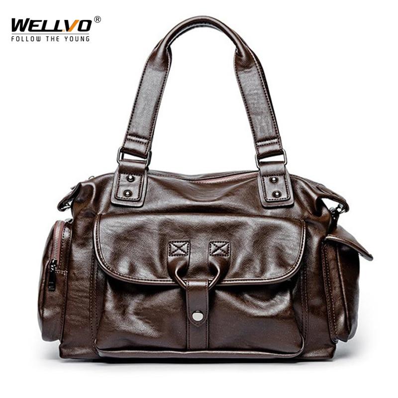 Men Rivet PU Leather Business Duffle Handbag For Male Fashion Square Bucket Travel Handle Bag Shoulder Laptop Tote XA242WC