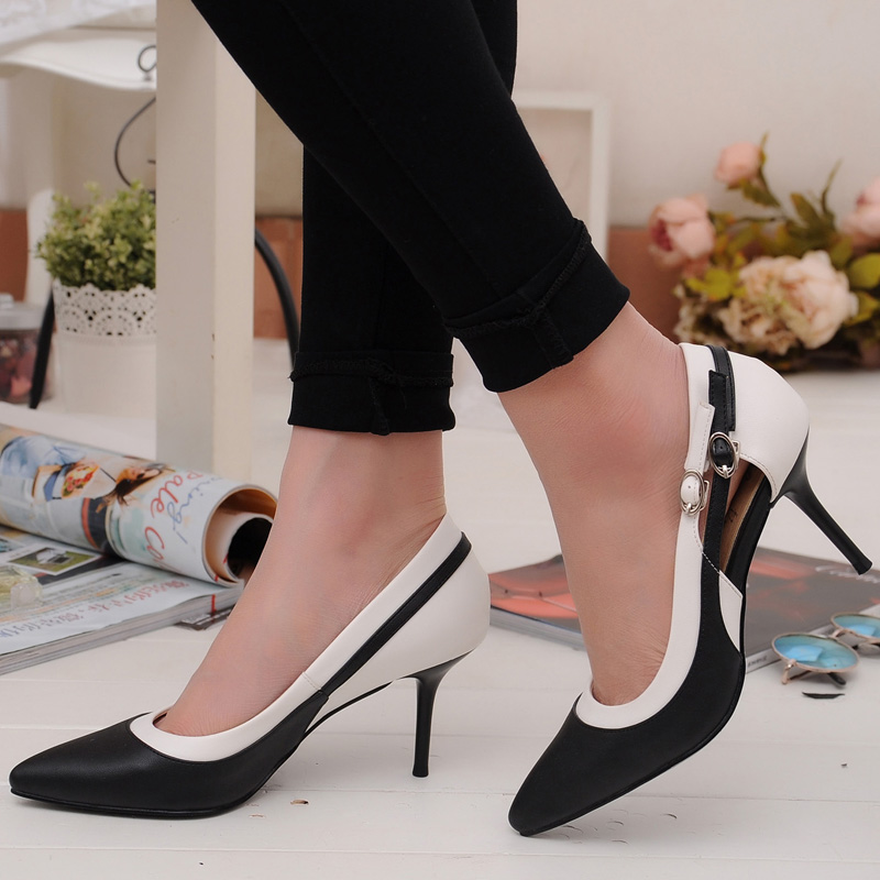 New 2016 Spring Fashion Women OL Dress Shoes Woman Sexy Pointed Toe High Heels Stitching Ankle Strap   Women Pumps Black White new spring autumn women shoes pointed toe high quality brand fashion ol dress womens flats ladies shoes black blue pink gray
