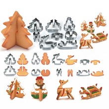 8pcs/set DIY Stainless Steel Biscuit Molds 3D Stereo Christmas Scene Cookie Fondant Cake Press Moulds Bakeware Decorating Tools