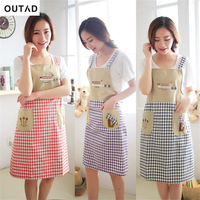 Kitchen Waterproof anti-oil sleeveless Apron Lattice Pattern Backing Cooking Dress With Two Pockets 70*80cm Apron Kitchen Tools