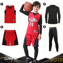 4 unids set niños ropa deportiva de compresión de invierno camisetas de baloncesto  mallas de gimnasio chándal de entrenamiento a. bdc14c8575c14
