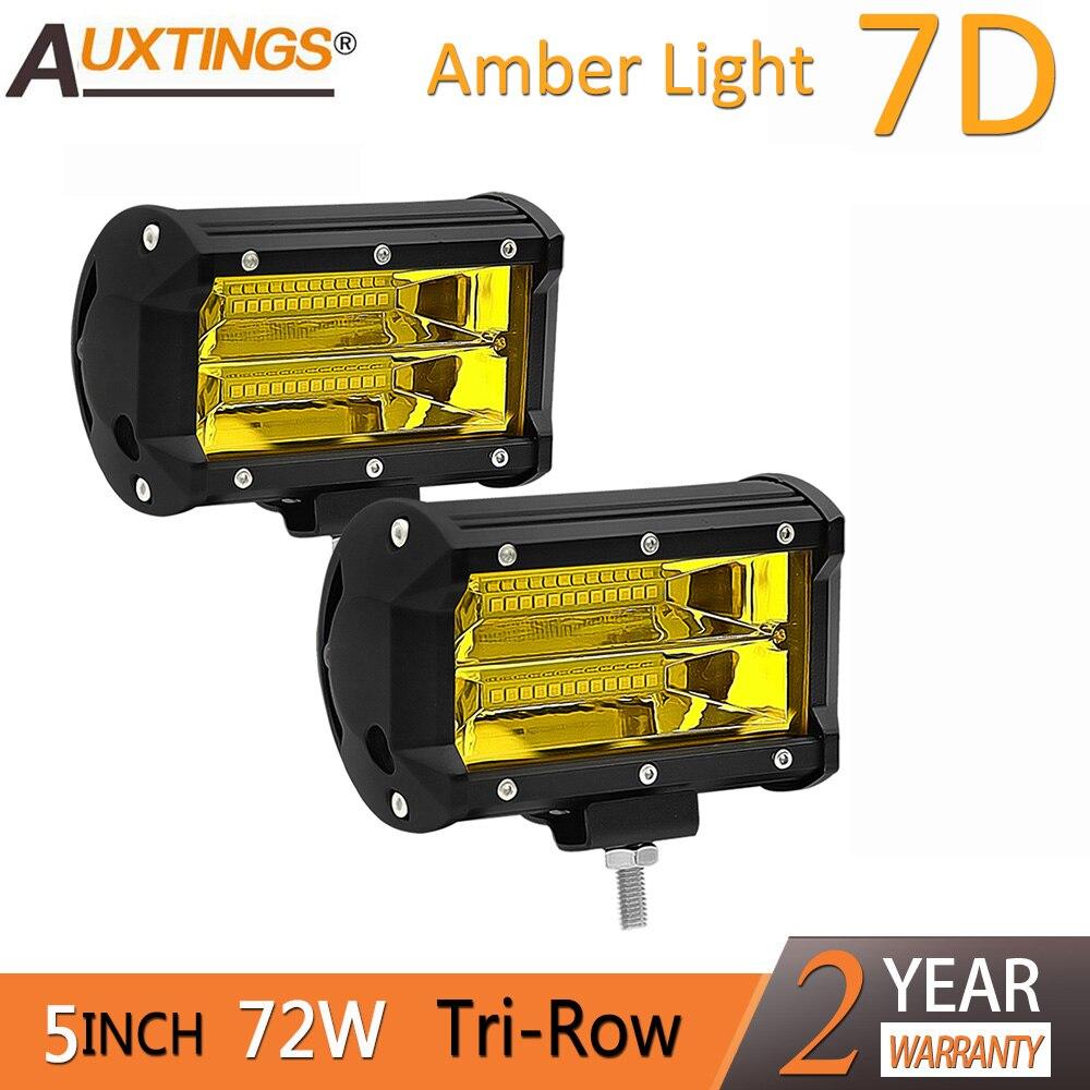 Auxtings Offroad 2PCS Amber 5 INCH 72W LED Work Light Bar Flood light 12V 24V CAR
