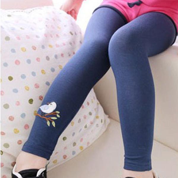Baby Girls Kid Leggings Skinny Pants Girls Leggings Cute Bird Print Stretchy Warm Leggings