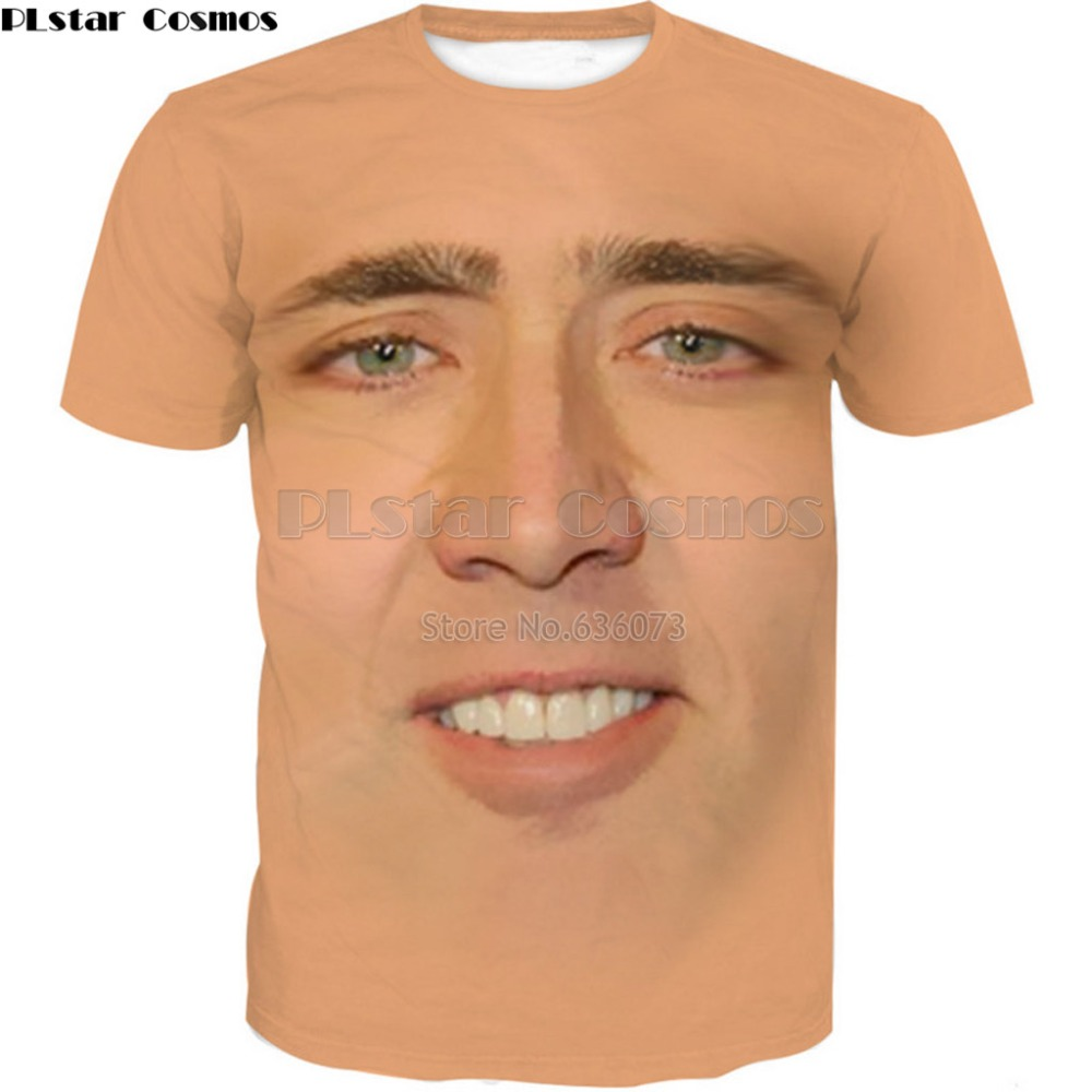 PLstar Cosmos Drop Shipping 2018 Summer New T Shirt The Giant Blown Up Face Of Nicolas Cage Print Mens Women Casual Cool T Shirt