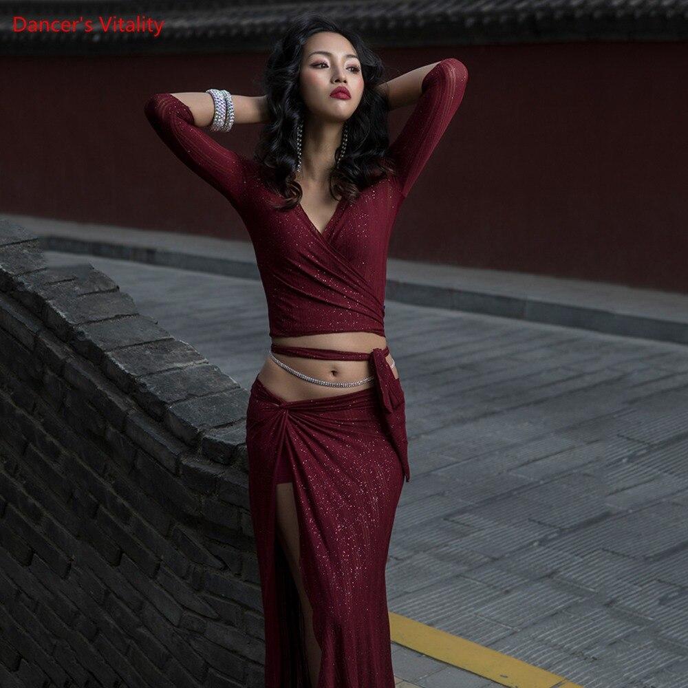 Dance Costume Warm Set Of 2 Items Dancer Practice Clothing Free Deep V Collar Top+Split Long Skirt Sexy Belly Dance Set