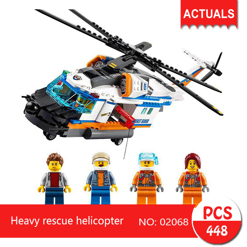 Lepin 02068 448Pcs City series Heavy rescue helicopter Model Building Blocks  Bricks Toys For Children Gift 60166 1711 city swat series military fighter policeman building bricks compatible lepin city toys for children