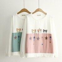 Hot Sale Neko Atsume Hoodie Round Neck Sweatshirt Hoodies Women Female Streetwear Fashion Harajuku Top Clothes
