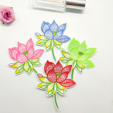 12pcs/lot Lotus patches iron on clothe stickers lotus flower badges embroidered for hat jeans clothes decoration