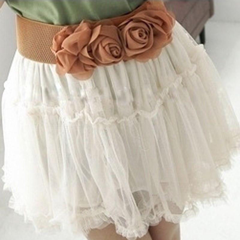 Beautiful  Vintage Girl Double Rose Flower Buckle Elastic Wide Waist Corset Lovely Belt women