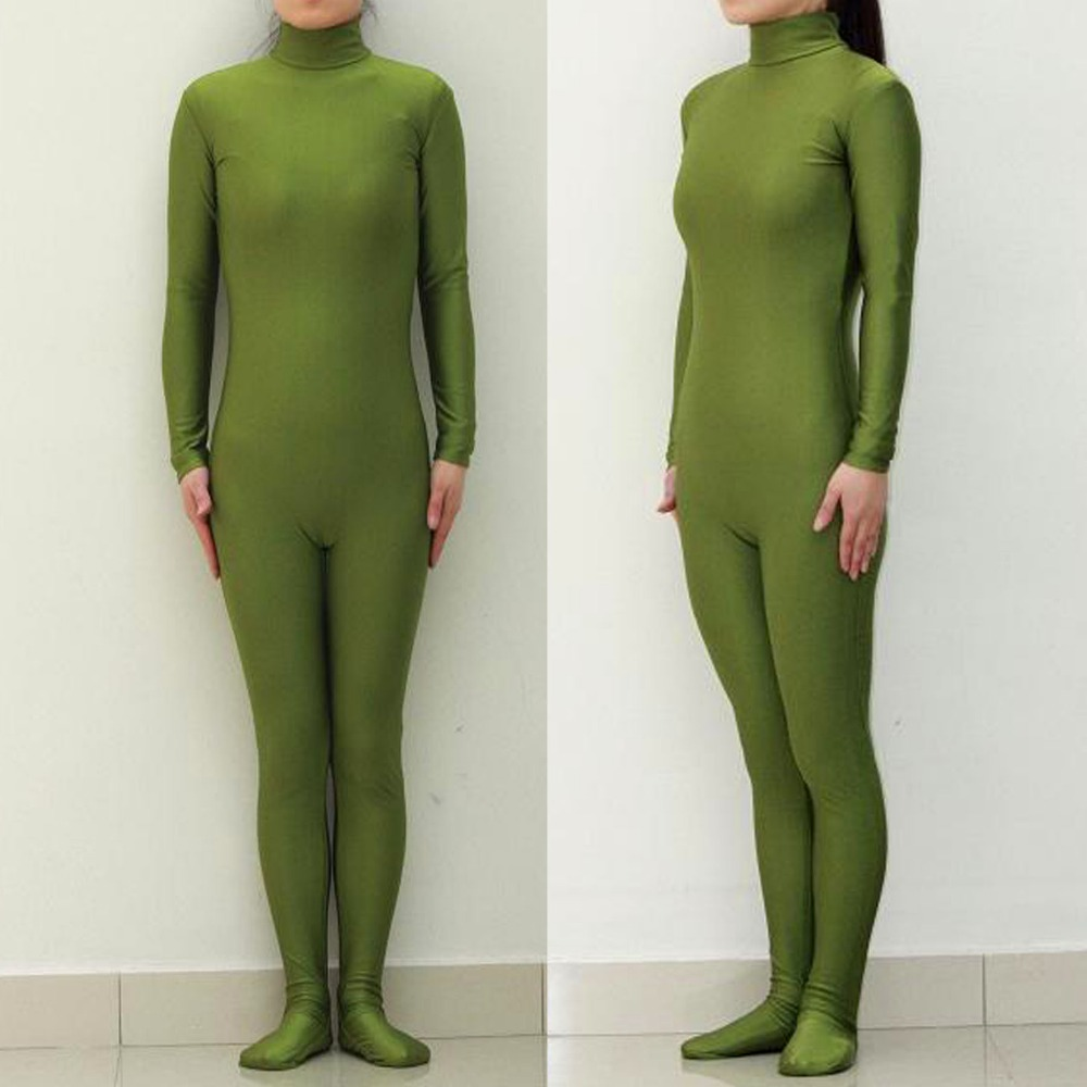 (LBS004) <font><b>Sexy</b></font> Lycra Spandex <font><b>Army</b></font> Green Unisex Party Leotard Catsuit Halloween <font><b>Cosplay</b></font> Costume Fetish Zentai Suits Wear image