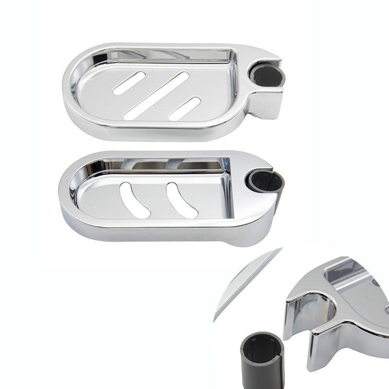 Soap Dish Holder Adjustable Shower Rod Slide Bathroom Gadget Soap Pallet Shower Rod Slide Bar Shower Rail Soap