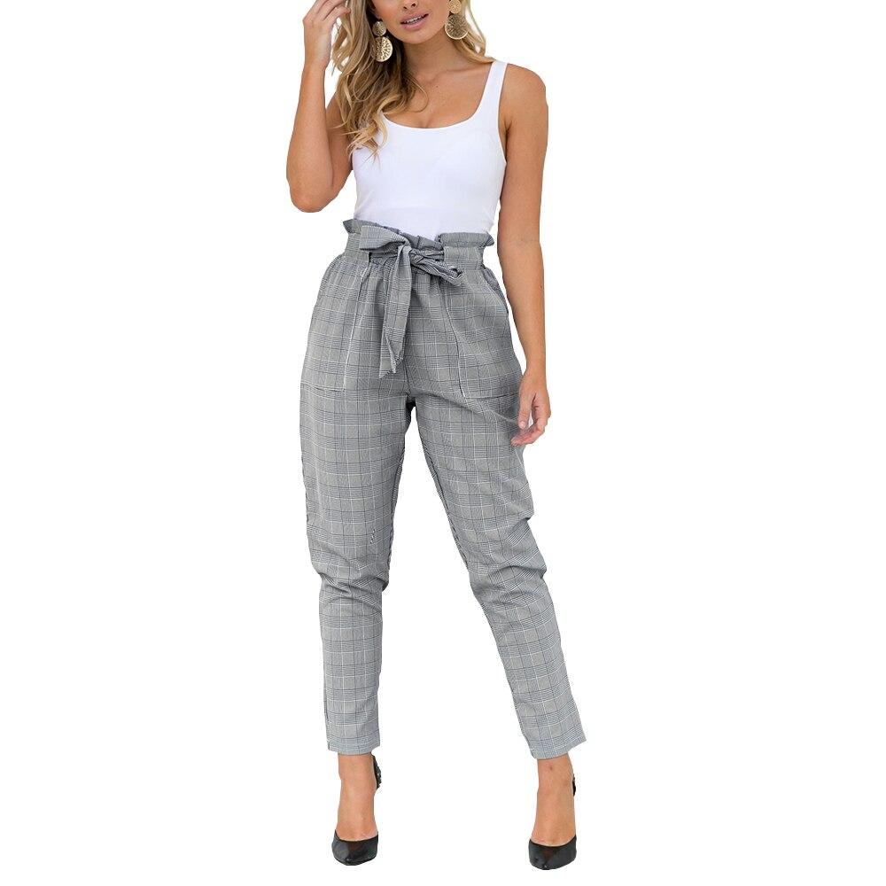 BB&KK Streetwear Lattice harem   pants     capri   Ruffle loose casual   pants   women 2018 Summer trousers high waist   pants   bottom