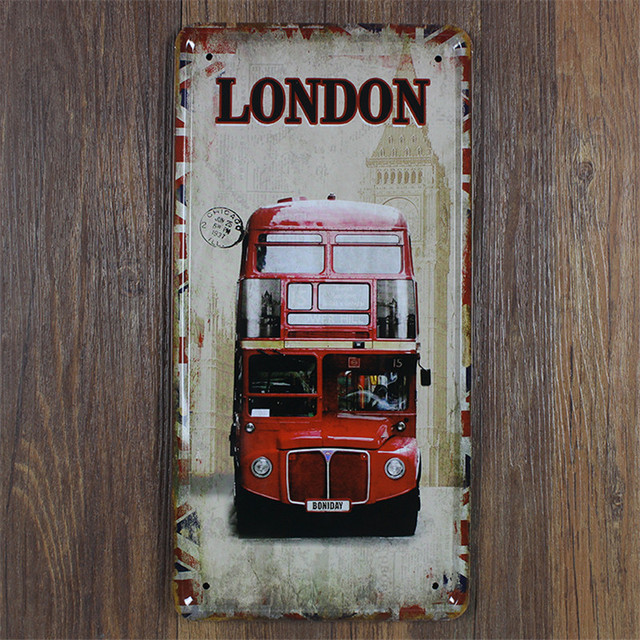 old London bus Vintage home decor 15*30 cm metal sign shabby chic ...