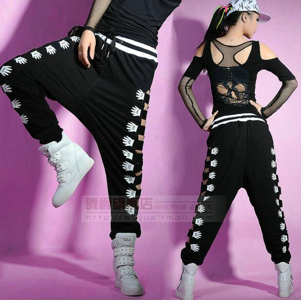 2017 New fashion Brand Adult Harem Hip Hop joggers loose Sexy cutout Hole Sweatpants Costumes Hollow out side Palm Dance pants