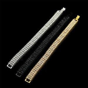 UWIN Iced Out хип-хоп браслет серебряный/золотой цвет 3 ряда шикарные Стразы Кристалл мужской браслет панк ювелирные изделия 20 см