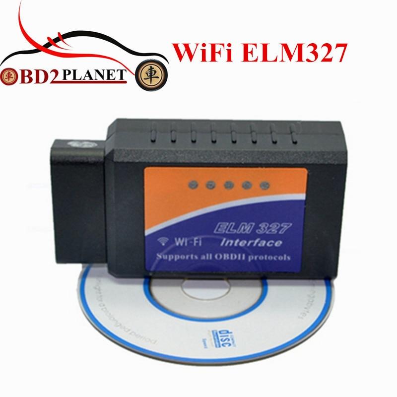 2017 High Quality New Desigh ELM327 WiFi Auto Diagnostic Tool OBD2 Wi-Fi ELM 327 Scanner Wireless Elm327 Supports IOS System