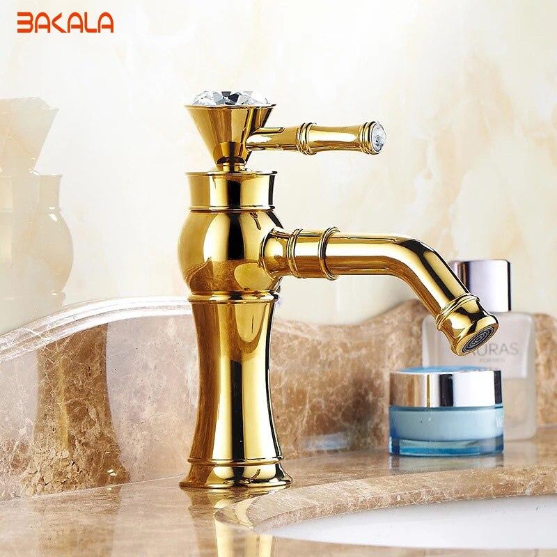 Здесь продается  BAKALA Gold Bathroom Faucets Brass with body Single Handle with diamond basin mixer Bathroom Faucet gold Mixer Tap B-1013M  Строительство и Недвижимость
