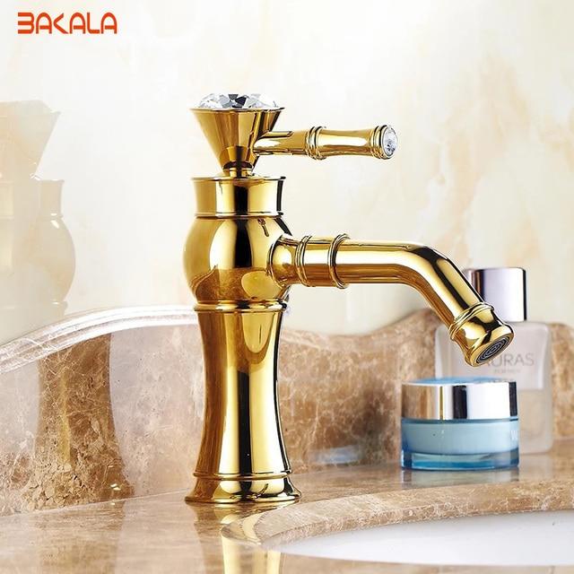 Bakala Gold Bathroom Faucets Br With Body Single Handle Diamond Basin Mixer Faucet