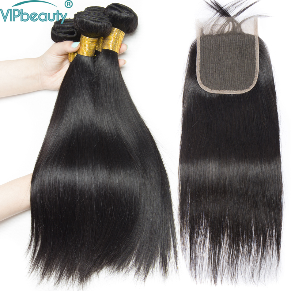 Vip beauty straight hair 3 bundles with lace closure non remy hair extensions Brazilian hair weave