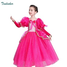 Girls Princess Aurora Costume Mesh Tutu Tulle Dress Bow Puff Sleeve Fairy Tale Cosplay Fancy Up Party dresses Vestido 2018 New цена и фото