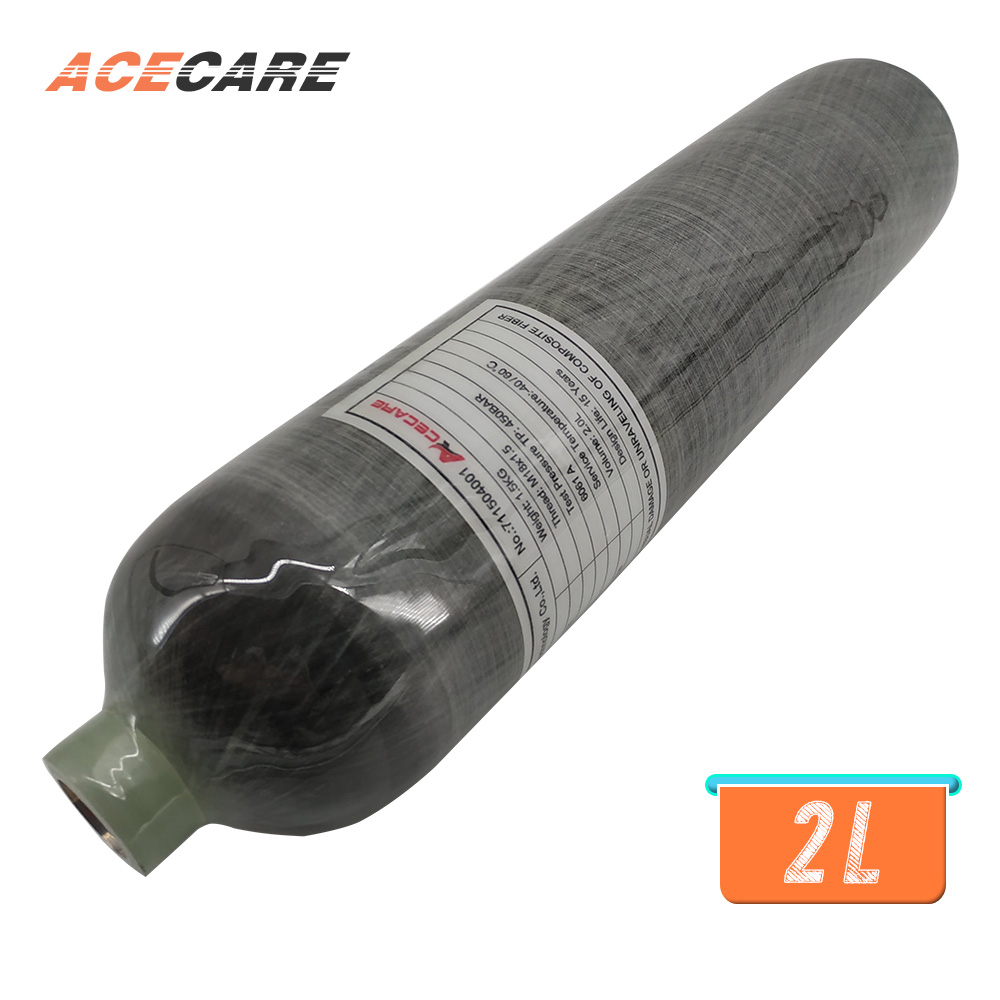 AC102 Mini SCUBA Diving Cylinder Hpa Carbon Fiber Tank 2L 4500psi M18*1.5 Thread CE For Pcp Air Rifle Shooting Target