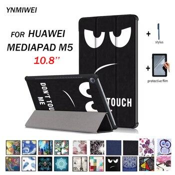 Tablet Case untuk Huawei MediaPad M5 10.8 Smart PU Kulit Case untuk Huawei MediaPad M5 Pro CMR-AL09 CMR-W09 CMR-W19 + Flims