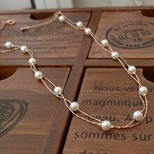 Dulcemente Verdadero chapado en Oro Rosa de Calidad superior Doble Nivel Simulado Collar de Perlas/Collar de Perla De La Manera Barata