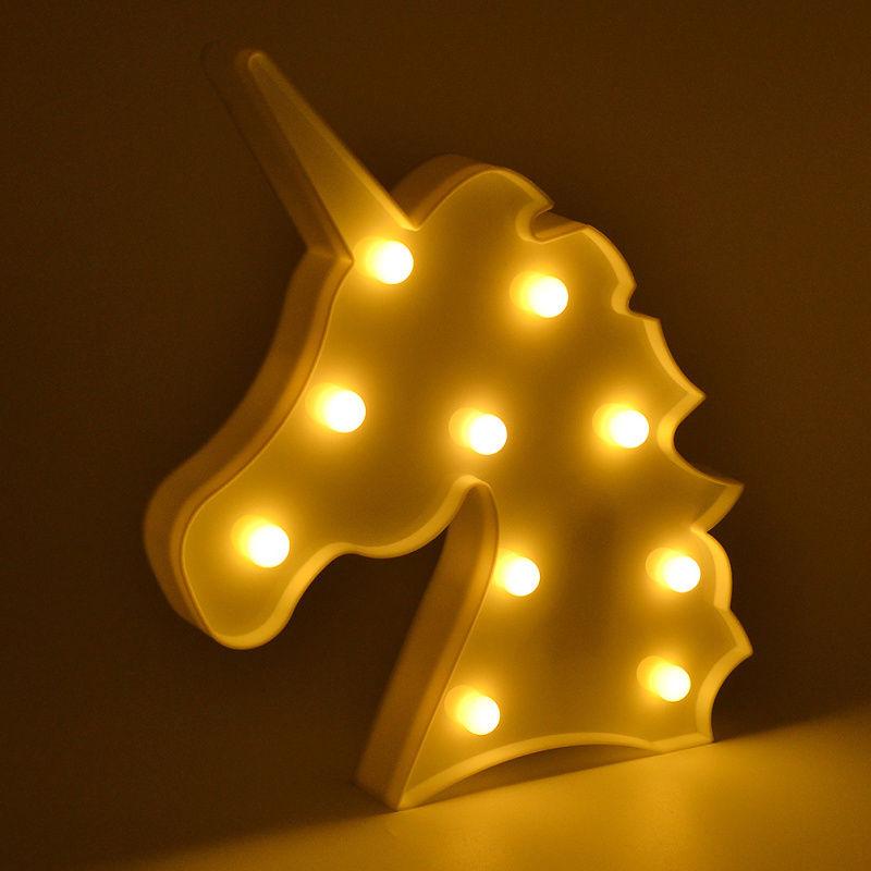 SOLLED Led Nacht Lichter Einhorn Party 3D LED Tisch Lampe Neuheit Tier Festzelt Zeichen Brief Lampe Luminaria Baby Kinder