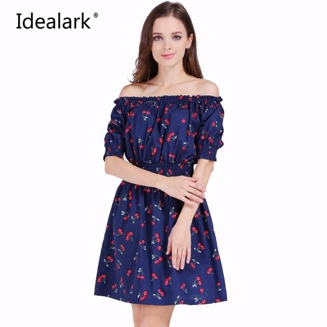 2017 new Fashion Women cherry Maxi Long Casual Summer Autumn Beach Party cotton Dress  WC0584-7