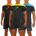 2016 Gymshark leica compresión camiseta masculina camisa de deportes de los hombres de culturismo y fitness Hombres Musculosos ZYL101