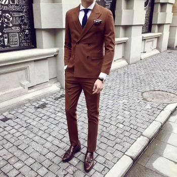 New Fashion Double Breasted Brown Groom Tuxedos Peak Lapel Groomsmen Mens Suits Blazers (Jacket+Pants+Tie) W:771