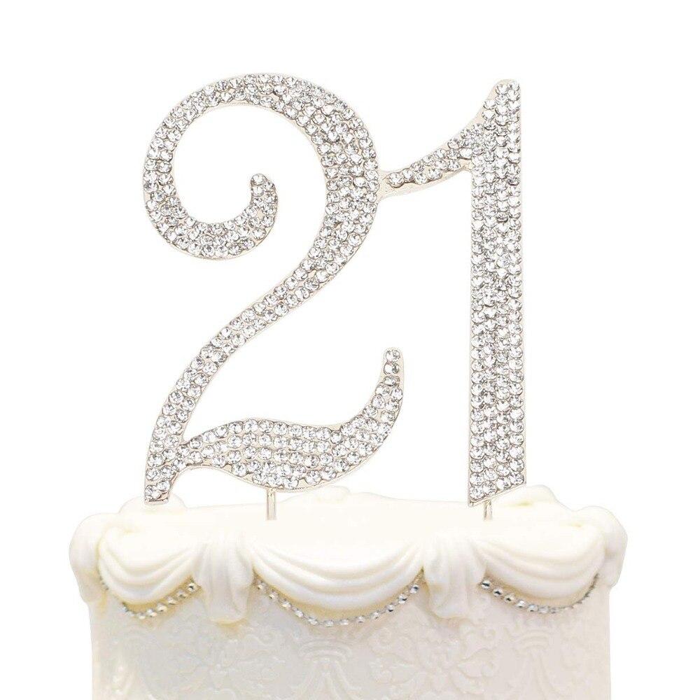 Hatcher Lee Bling Crystal 21 Birthday Cake Topper