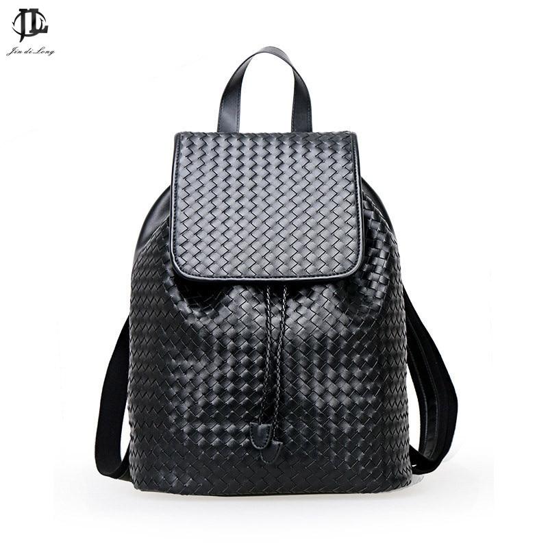 ФОТО *? Designer Men Backpacks Weave Pu Leather School Bag For Teenagers Black Women Backpack Travel Bolsas Mochila Feminina