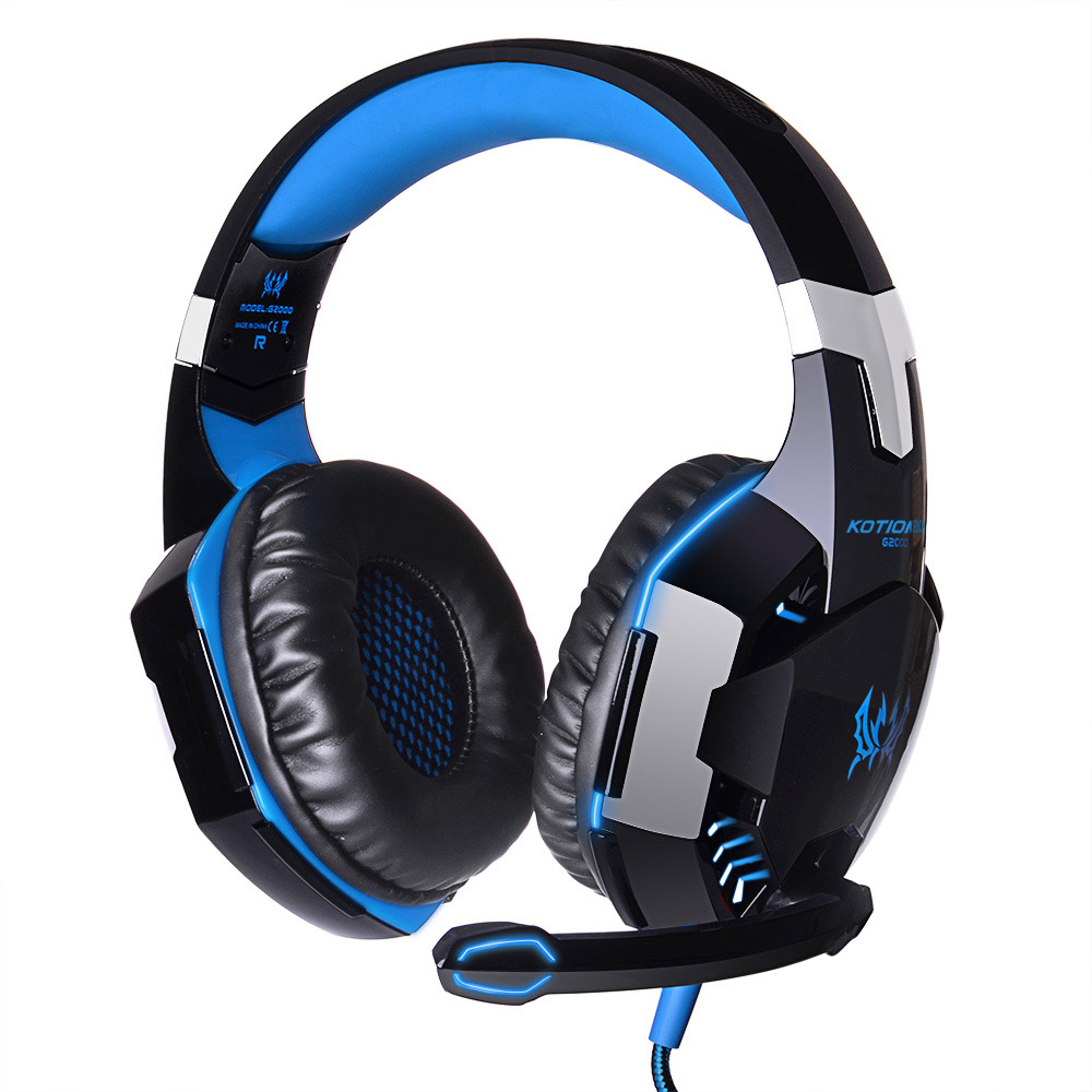 KOTION EACH G2000 Deep Bass Game Headphone Stereo Surrounded Over-Ear Gaming Headset Headband Earphone with Light for PC Gamer led bass hd gaming headset mic stereo computer gamer over ear headband headphone noise cancelling with microphone for pc game