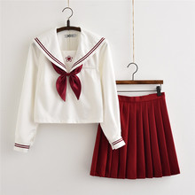 UPHYD School Uniform Designs TOP+Pleated Skirt+Tie High School Girl Sailor Suits S-XXL JK Uniforms XJ7403