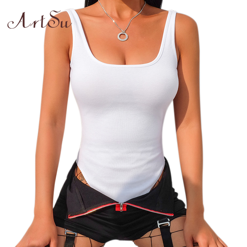 Artsu Cotton Sexy Women Bodysuit Streetwear U-neck Strap Backless Bodycon Female Catsuit Black Body Romper New Asju41161 To Win Warm Praise From Customers