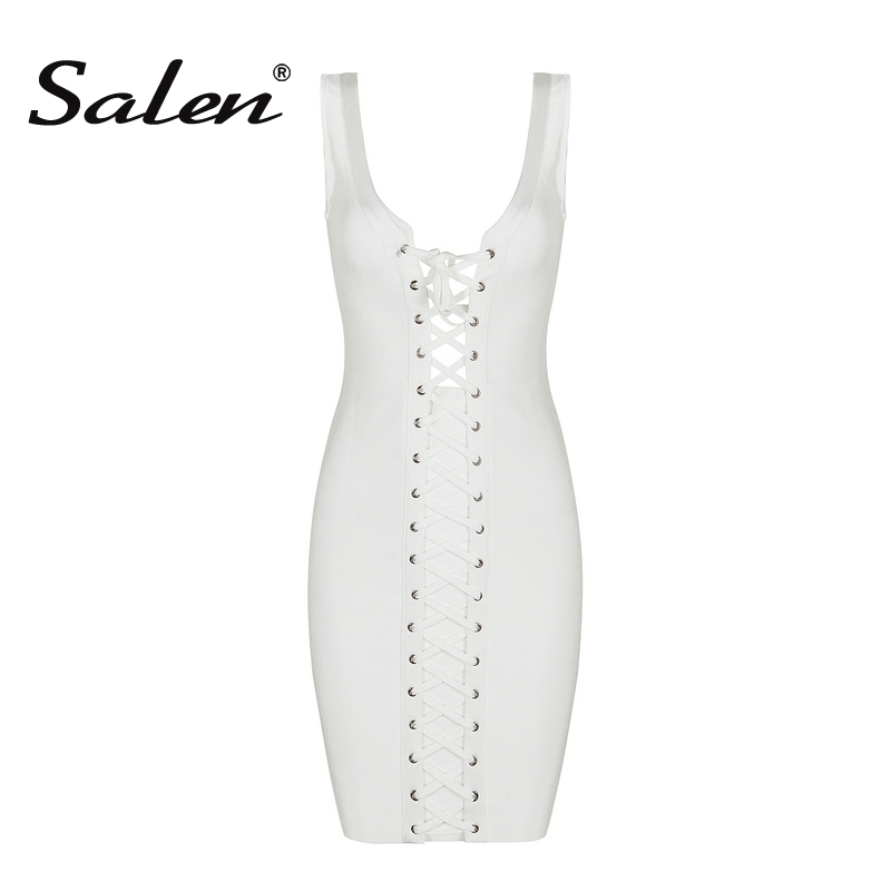 Salen Sexy Women Mini Asymmetrical Neck Summer Bandage Dress Sleeveless Sheath Tank Club Lady Dress Vestidos