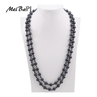 MeiBaPJ 2017 New Fashion Design Black 120cm Long Necklaces Natural Pearl Beads Necklace For Party