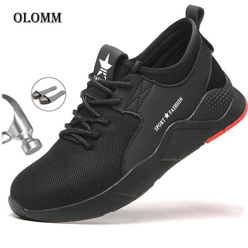 Fashion Casual Men's Boots Safety Shoes Nti-mite Light Steel Head Unisex Men's Breathable Sports Shoes Anti-piercing Men's Shoes