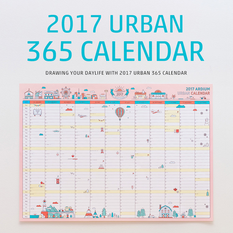 1 pcs korean cute cartoon wall calendar 2018 a2 365 day calendar creative schedule planning paper 5943cm in calendar from office school supplies on