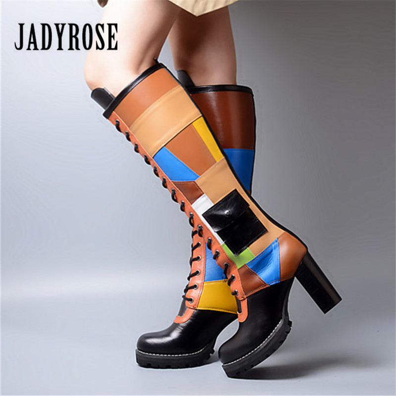 Jady Rose Patchwork Women Knee High Boots Lace Up Chunky High Heel Botas Autumn Winter Genuine Leather Platform Shoes Woman jady rose sexy black women ankle boots female genuine leather chunky high heel boots lace up women platform pumps autumn botas