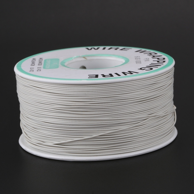 305M White PVC Coated Tin Plated Copper Wire Wire-Wrapping 30AWG Cable Roll