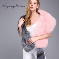 Aiyangsilan Real Fur Women Scarves Fox Fur Solid Color Pink Silver Fur Scarf With Tail Autumn Winter Warm Scarves For Female