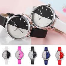 Casual Women Patchwork Round Dial Faux Leather Strap Analog Quartz Wrist Watch 2019 цены