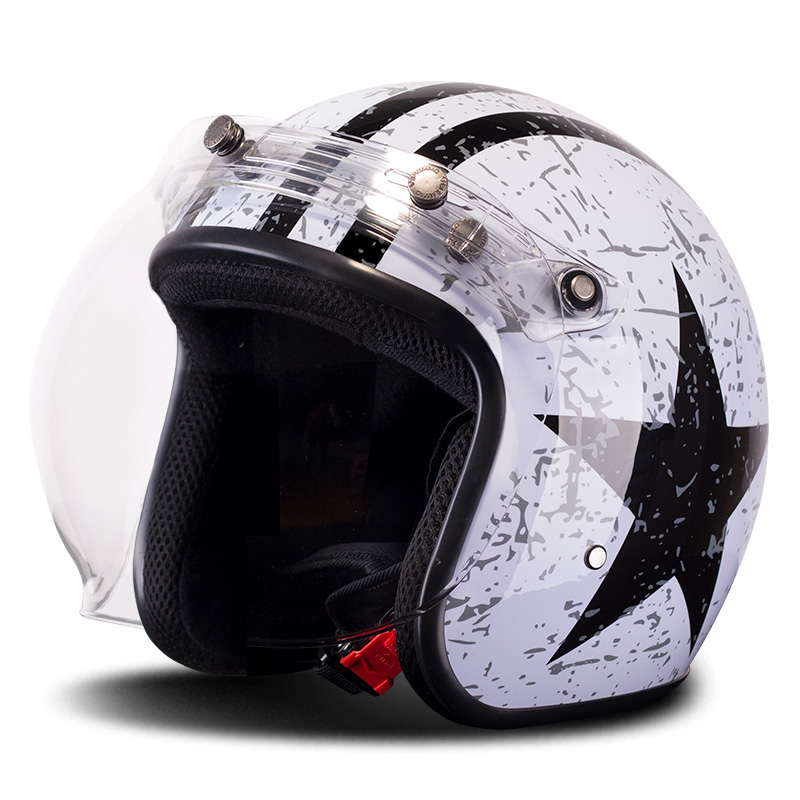 BYE Retro Vintage Motorcycle Helmet 3/4 Open Face Helmet Motorbike Cafe Racer Cruiser Chopper Moto Helmet with Bubble VisorBYE Retro Vintage Motorcycle Helmet 3/4 Open Face Helmet Motorbike Cafe Racer Cruiser Chopper Moto Helmet with Bubble Visor