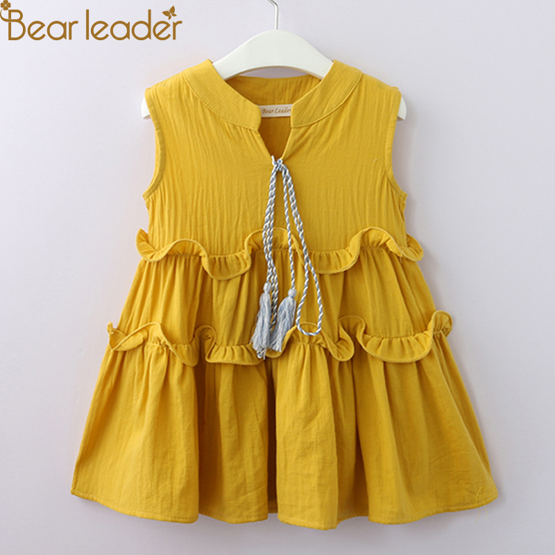 Bear Leader Girls Dresses 2018 Summer New Baby Bowsuit Children's Dress Neckline Camisole Dress Child Tassel Princess Dress surplice neckline self tie circle dress