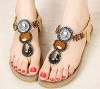 Bohemian vrouwen sandalen slippers diamant parel boog clip teen platte sandalen peer sandalen wipschakelaarsandals schoenen size35-42